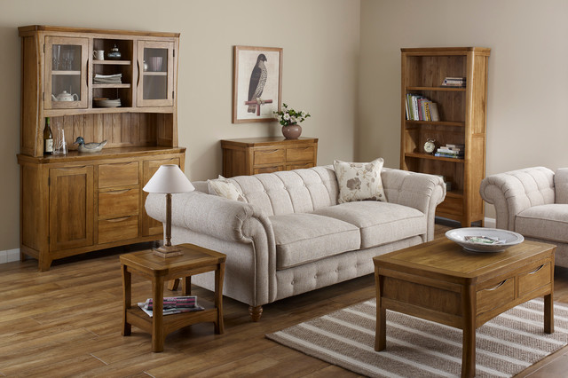 Orrick rustic solid oak living room traditional for Bedroom ideas oak furniture