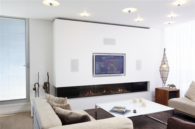 Modern Living Room With Fireplace ortal clear 170 fireplace - modern - living room - denver -
