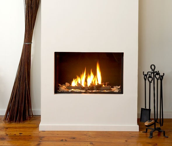 Bright White Fireplace Contemporary Living Room: Ortal Clear 70 Fireplace