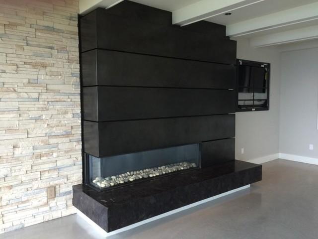 Ortal Corner Fireplace Modern Living Room Seattle