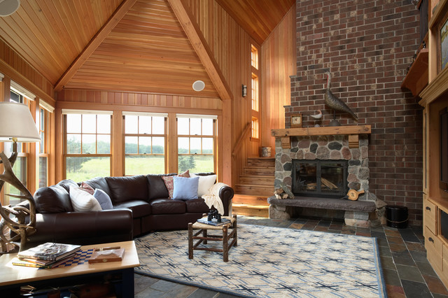 Otter tail hunting lodge rustic living room for Hunting decor for living room