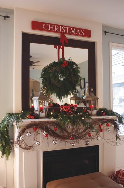 Our Living Room Mantel - Christmas 2010... contemporary-living-room