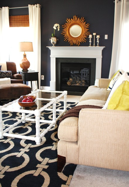 Our navy living room contemporary living room charlotte by emily a clark for Navy blue carpet living room