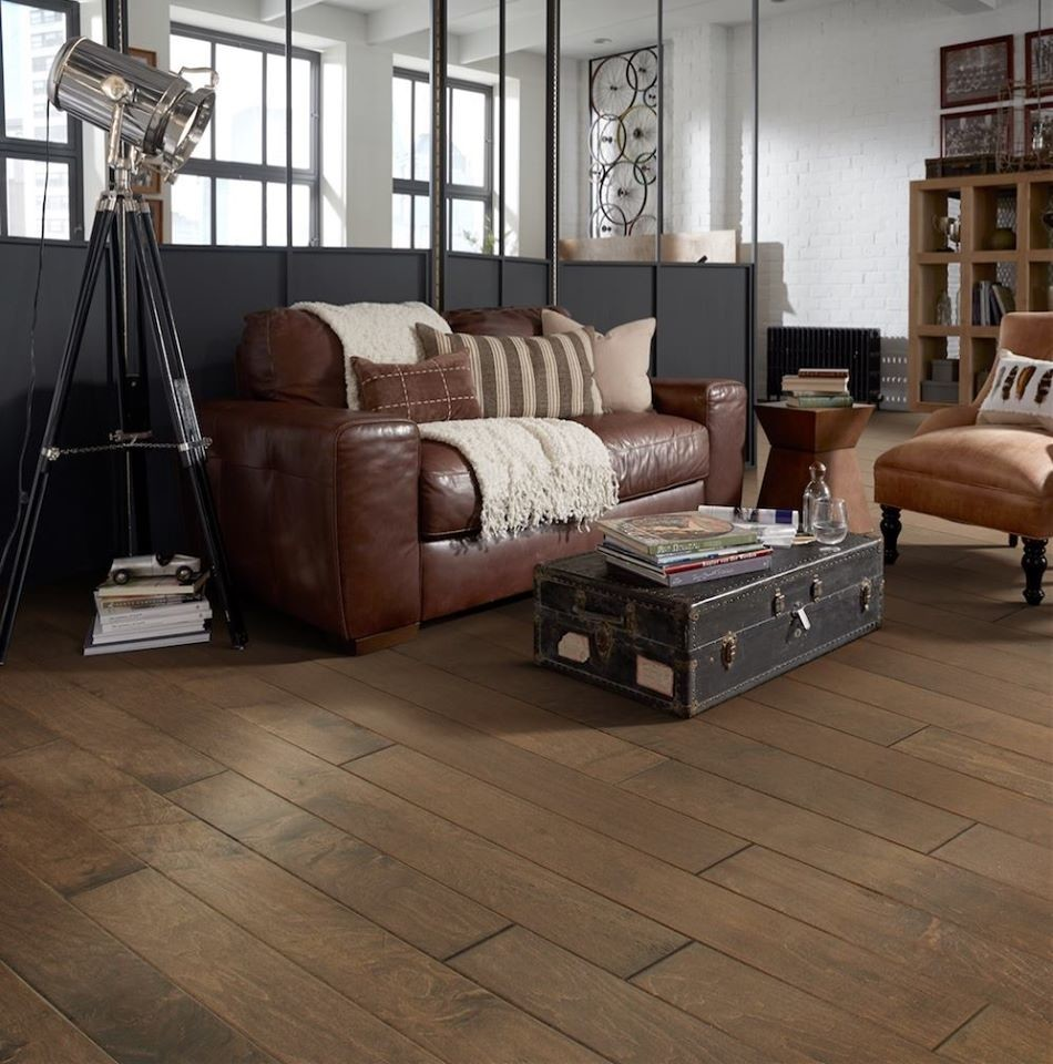 Example of a mid-sized urban formal and open concept dark wood floor living room design in Other with white walls