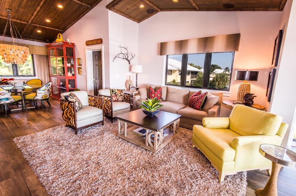 Living room - craftsman living room idea in Miami