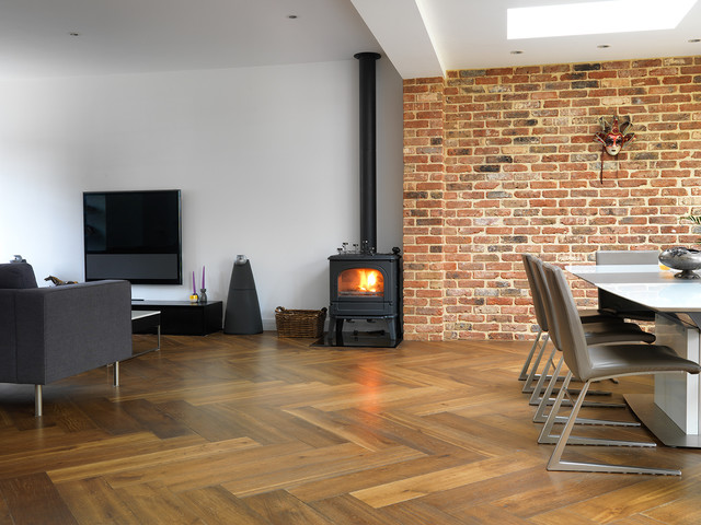 Oversized Smoked Oak Parquet Traditional Living Room