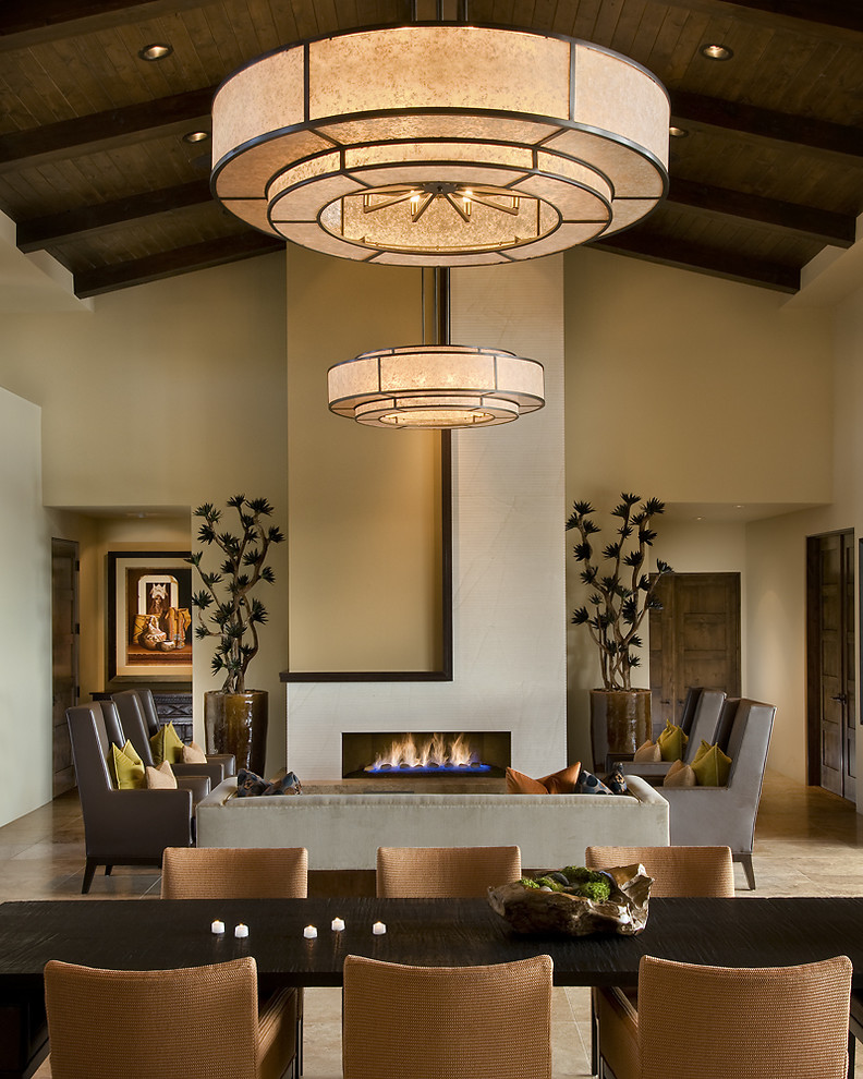 Zen living room photo in Phoenix with beige walls and a ribbon fireplace