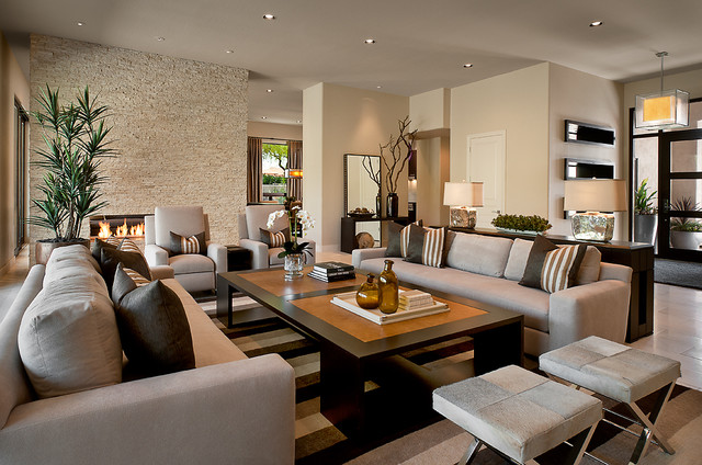 Trendy Living Room Photo In Phoenix With A Stone Fireplace