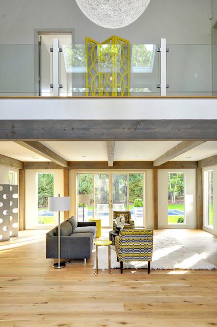 Oyster Shores Contemporary Barn Home Contemporary Living Room