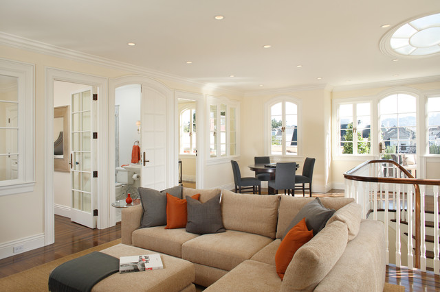 Grey And Orange Living Room pacific heights home living room - contemporary - living room