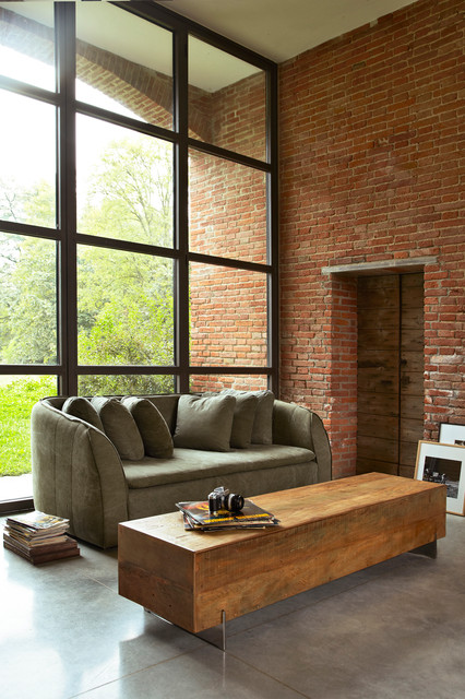 Pacifica sofa beam coffee table contemporary living for Reclaimed wood beams los angeles
