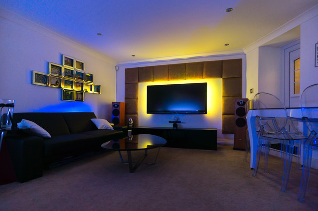 Padded Wall Panels Cinema Tv Rooms Contemporary