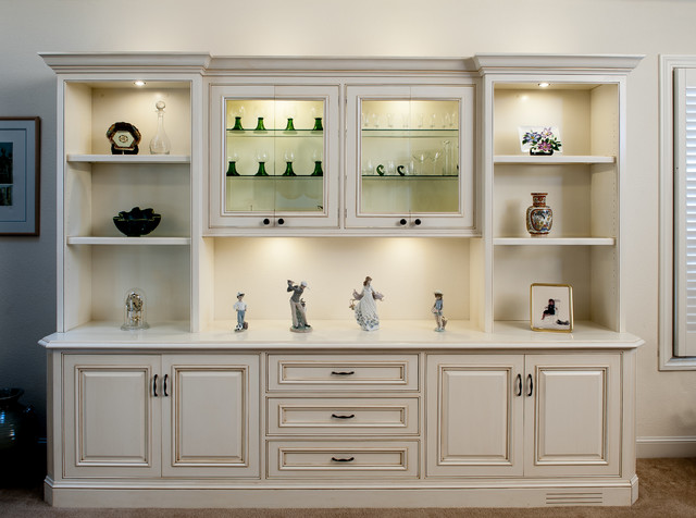 Painted and glazed display cabinet traditional living Living room cupboards designs