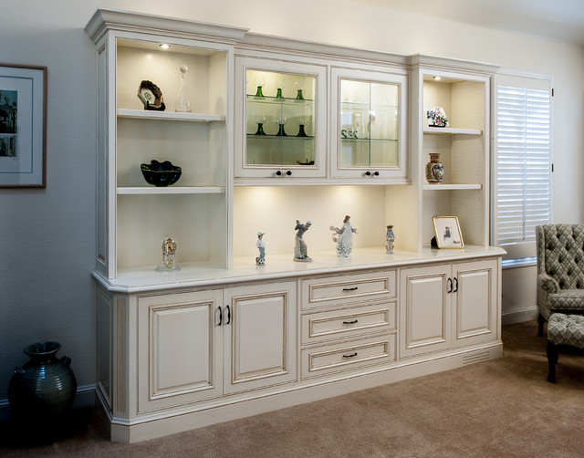 Living Room Cabinet : Painted and Glazed Display Cabinet - Traditional - Living ...