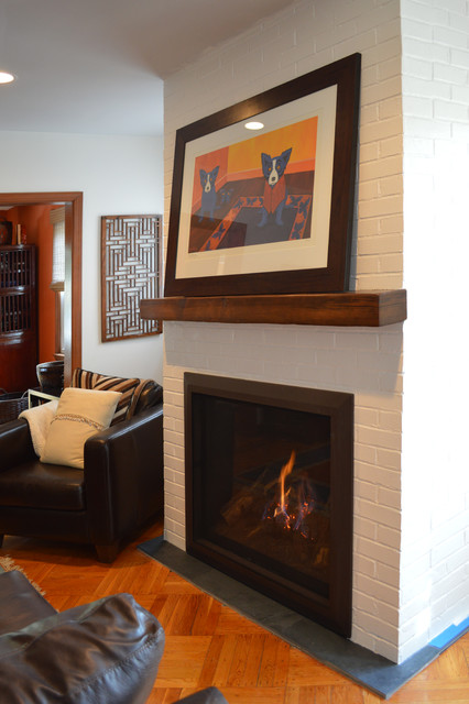 Painted Brick Fireplace Eclectic Living Room New York By Ember Fireplaces