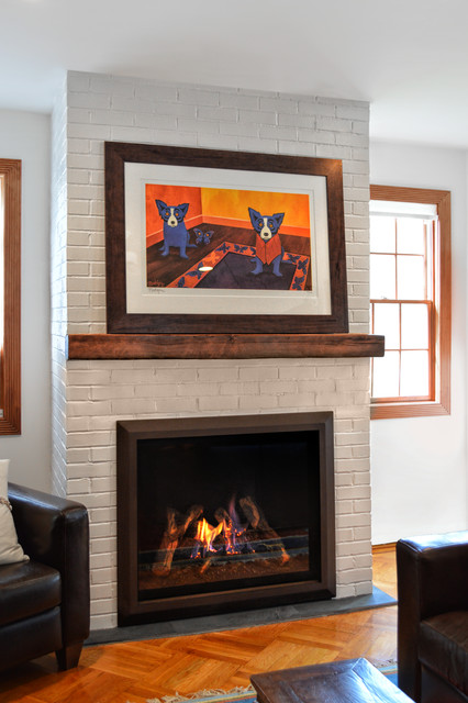 Painted Brick Fireplace Eclectic Living Room Other By Ember Fireplaces
