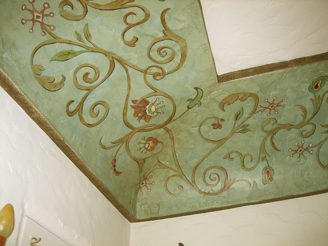 Painted Ceiling With Spanish Colonial Revival Ornament Traditional