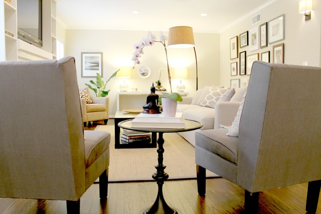 Pair of Grey Side Chairs - Transitional - Living Room - Los Angeles ...