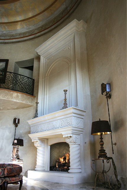 Palazzo With Overmantel Mediterranean Living Room