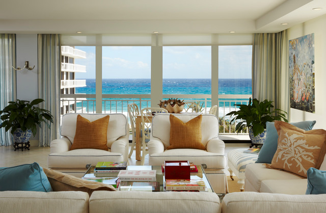 Palm beach ocean view apartment transitional living for Beach style apartment decor
