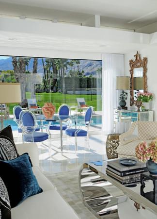 Palm springs interior design tour home eclectic living for Palm springs interior design style
