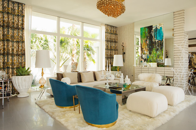 Example Of A Trendy Open Concept Living Room Design In Los Angeles With  Beige Walls