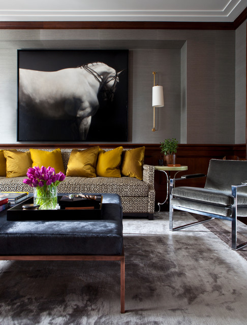 Transitional living room photo in Chicago with gray walls