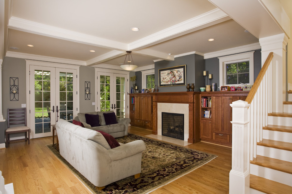 Arts and crafts living room photo in San Francisco with gray walls, a standard fireplace and no tv