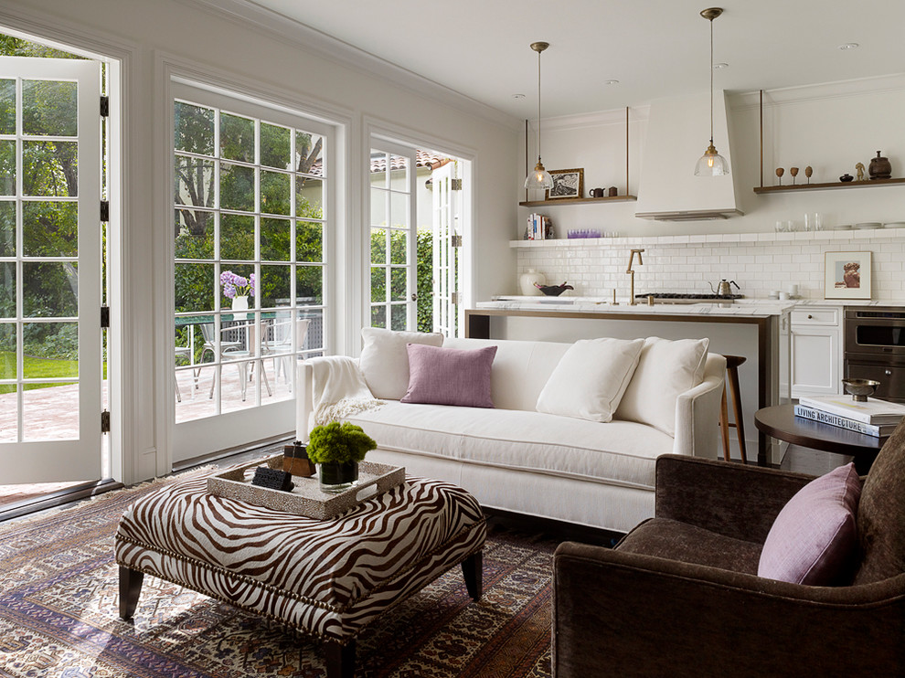 Transitional open concept living room photo in San Francisco with white walls