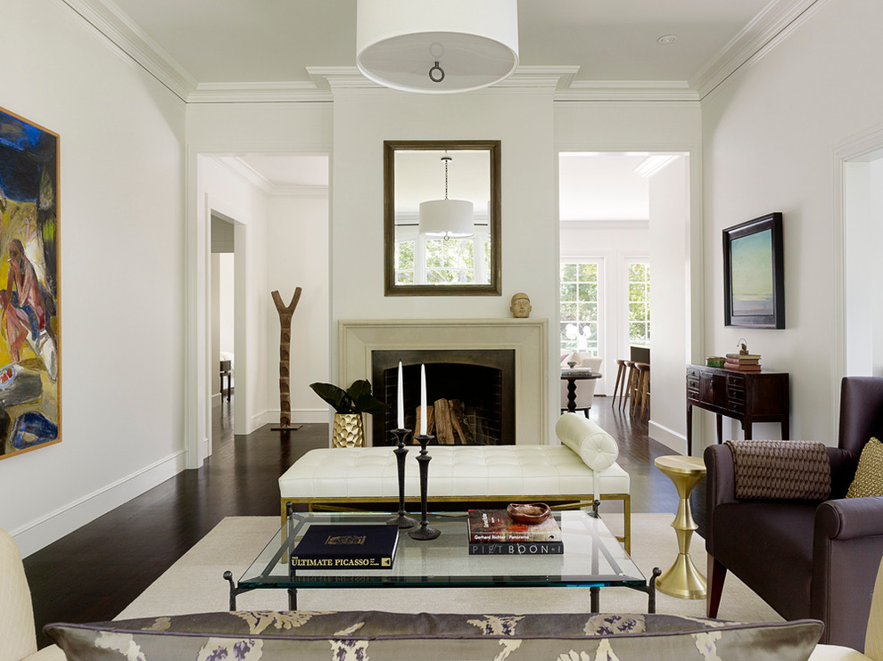 Living room - transitional living room idea in San Francisco with a stone fireplace and white walls