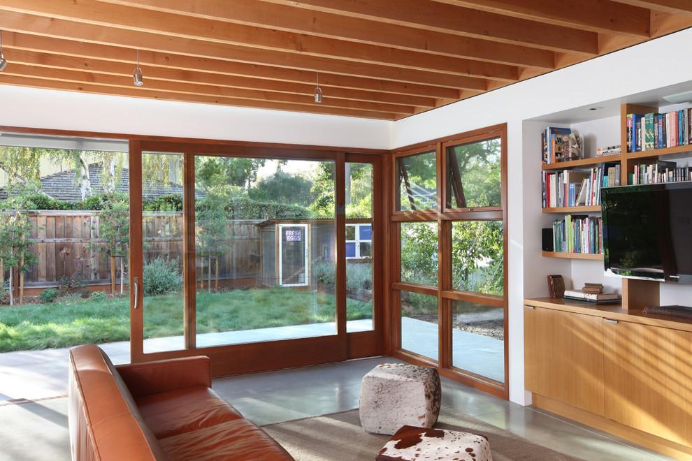 Living room - contemporary concrete floor and gray floor living room idea in San Francisco