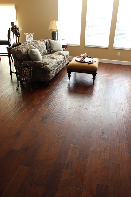 Pam 39 s wood tile floors and fireplace traditional Carpet or wooden floor in living room