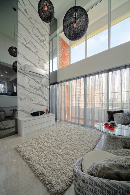 Large trendy marble floor living room photo in Singapore