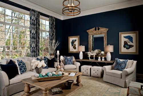 Dark navy blue living room, looks so classic!