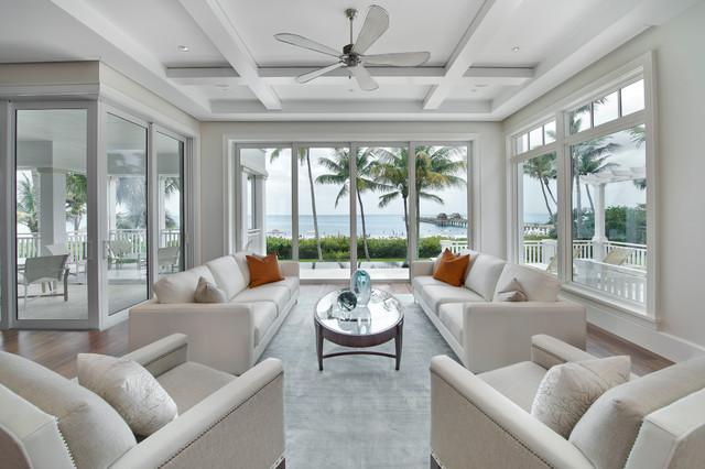 Exceptional Paradise At The PierBeach Style Living Room, Miami