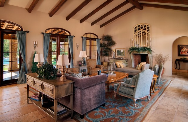 Paradise Valley Tuscan Style - Traditional - Living Room ...
