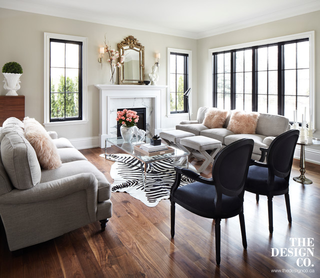Lovely Parisian Chic Transitional Living Room