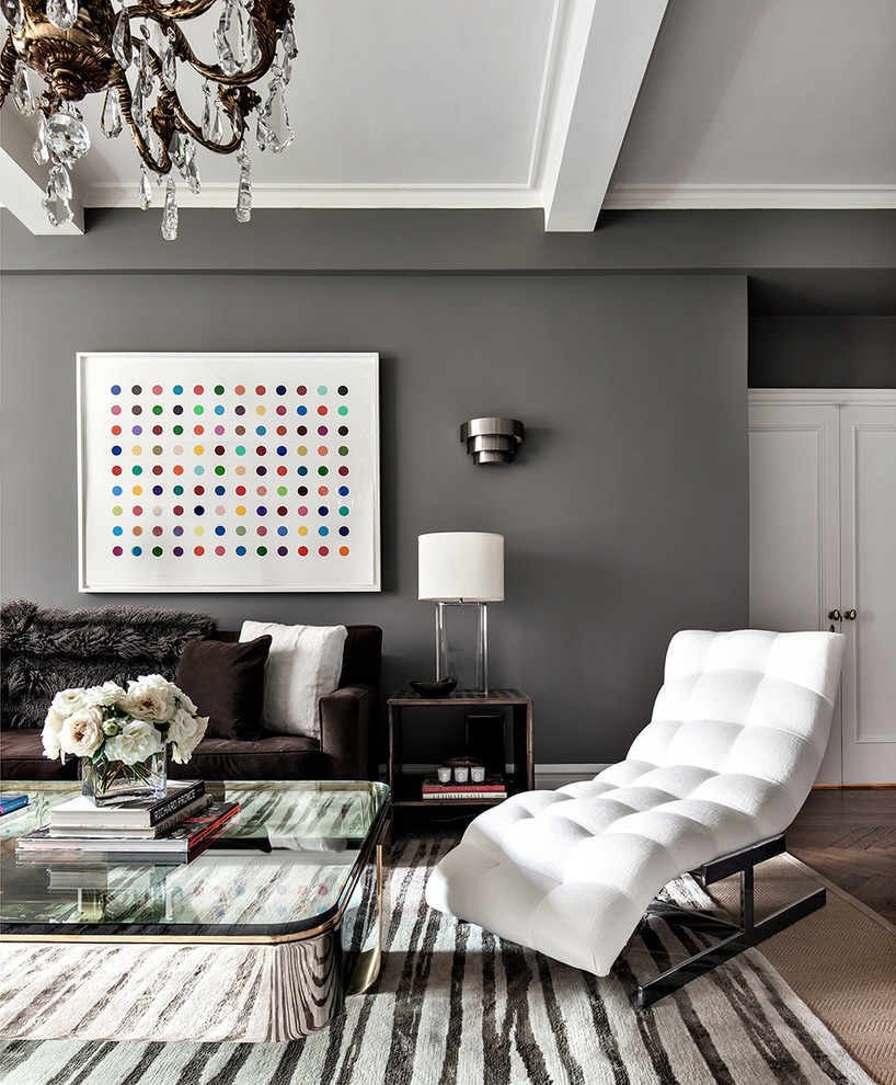 Example of a trendy dark wood floor living room design in New York with gray walls
