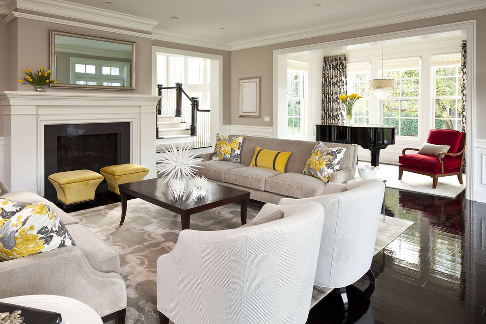Example of a huge transitional open concept black floor living room design in Minneapolis with a music area, gray walls, a standard fireplace and no tv