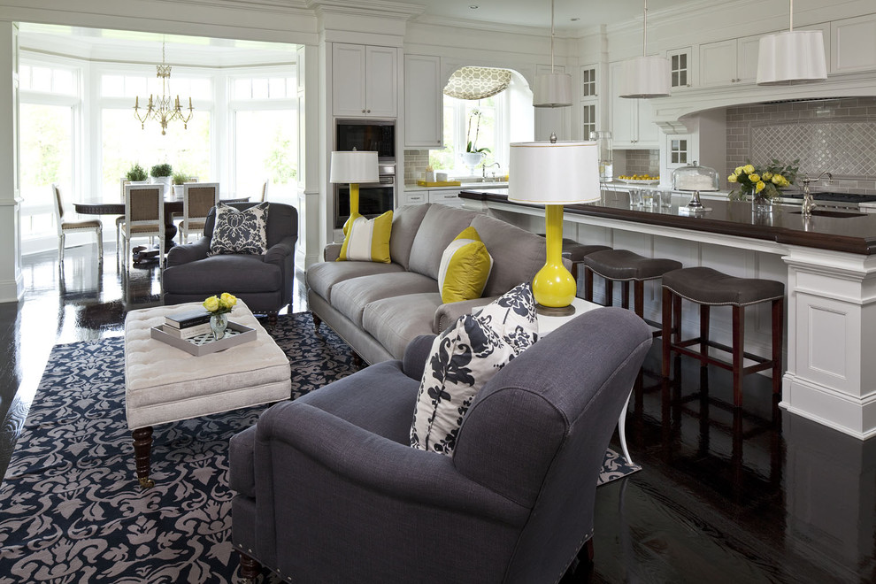 Mid-sized elegant open concept living room photo in Minneapolis with white walls