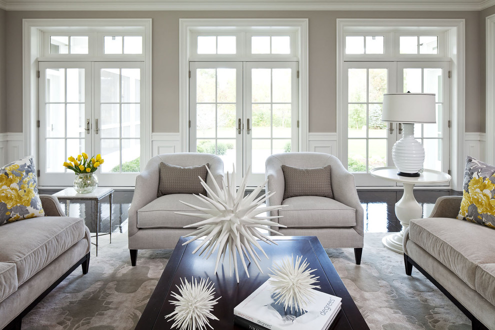 Living room - huge transitional formal and open concept living room idea in Minneapolis with gray walls