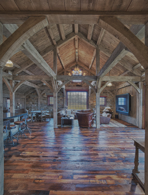 Party barn interior rustic living room other metro for Rustic timber frame homes