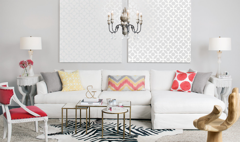 Trendy carpeted living room photo in Houston with gray walls
