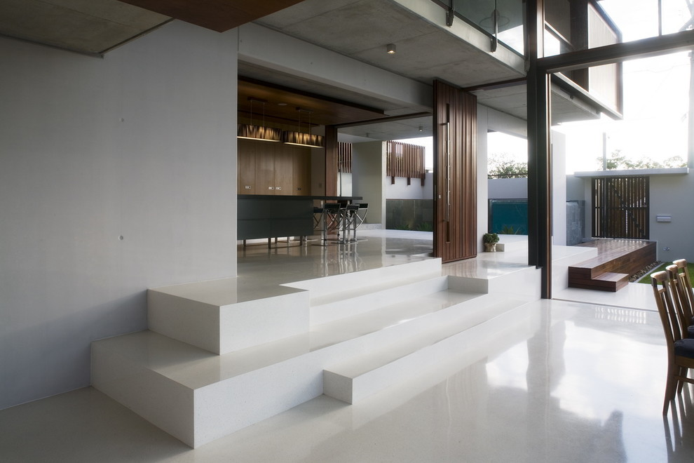 Example of a trendy living room design in Brisbane