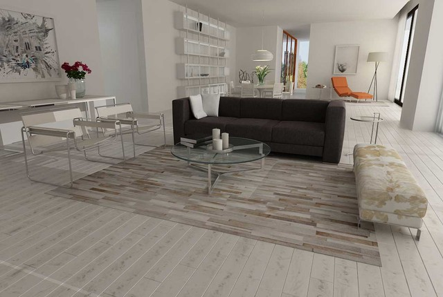 Patchwork Cowhide Rug Stripes Design In White Gray And