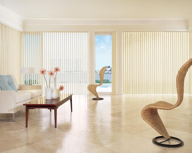 Patio sliding door vertical treatment options modern for Modern living room blinds