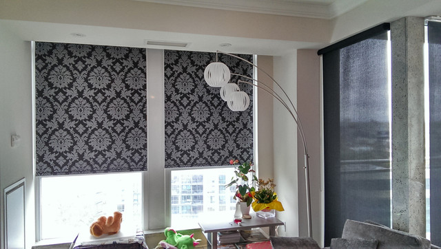 Patterned Roller Shades In A Downtown Toronto Condo Contemporary Living Room Toronto By
