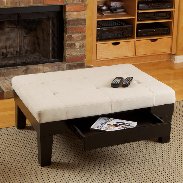 patterson ivory linen storage ottoman - modern - living room - los