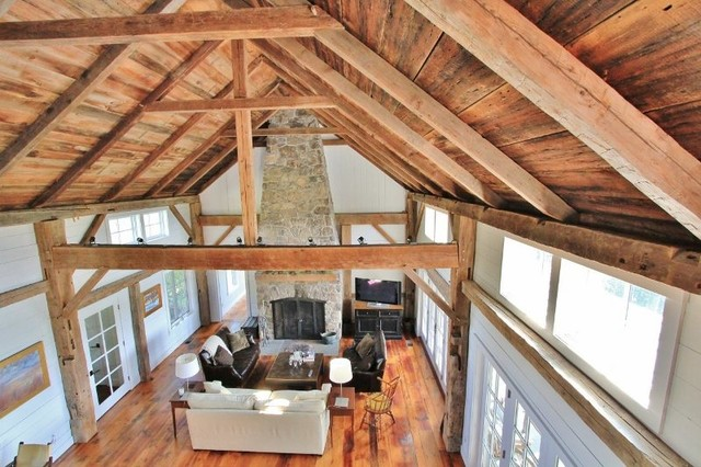 Pawlet Vermont Barn Home - Traditional - Living Room ...