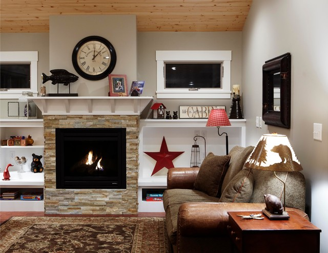 example of a classic living room design in minneapolis with a stone fireplace